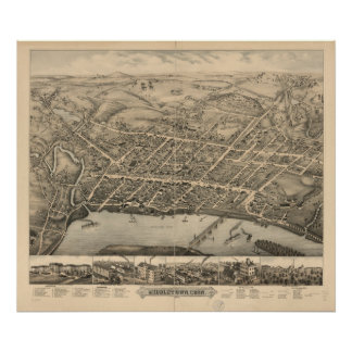 Middletown Connecticut 1877 Antique Panoramic Map Poster