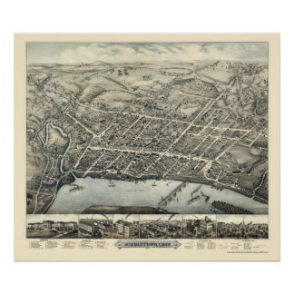 Middletown, mapa panorámico del CT - 1877 Póster