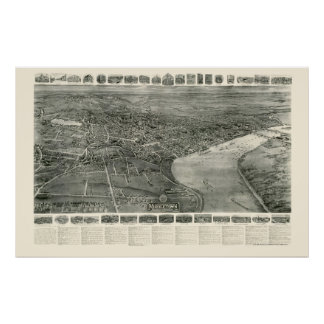 Middletown, mapa panorámico del CT - 1915 Póster