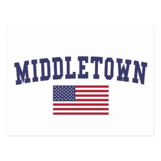 Middletown OH US Flag Postcard