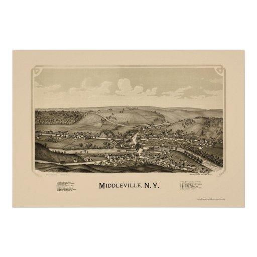 Middleville, NY Panoramic Map - 1890 Poster