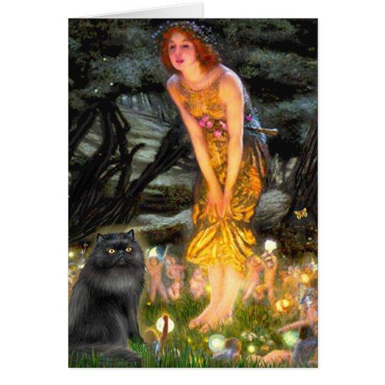 MidEve - black Persian cat Card