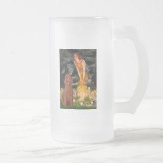 MidEve - Dark Red Standard Poodle #1 Frosted Glass Beer Mug
