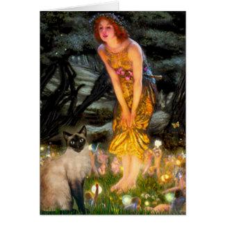 MidEve - gato siamés del punto del sello Tarjeta De Felicitación
