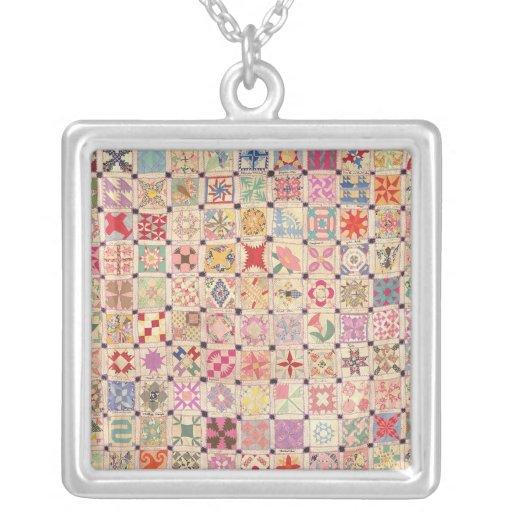 Midget Blocks Quilt Necklace Square Zazzle