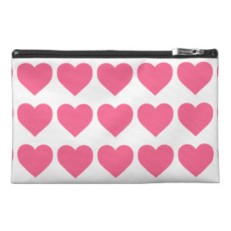 Midi Pink Candy Hearts on White Travel Accessory Bag