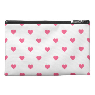 Midi Pink Polkadot Candy Hearts on White Travel Accessories Bags