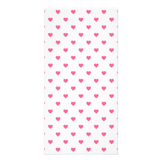 Midi Pink Polkadot Candy Hearts on White Personalized Photo Card