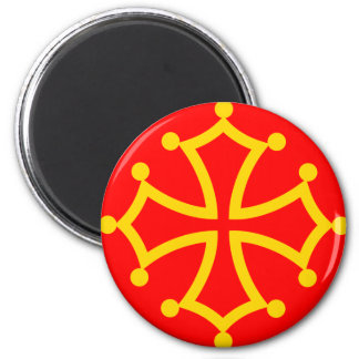 Midi-Pyrenees, France flag 2 Inch Round Magnet