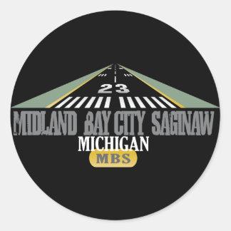 Midland Bay City Saginaw MI - Airport Classic Round Sticker