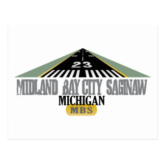 Midland Bay City Saginaw MI - Airport Postcard