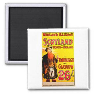 Midland Railway Scotland Bagpipe Kilt Travel Art Fridge Magnet