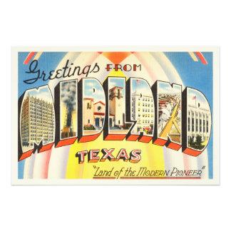 Midland Texas TX Old Vintage Travel Souvenir Photo Print
