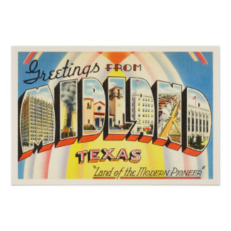Midland Texas TX Old Vintage Travel Souvenir Poster