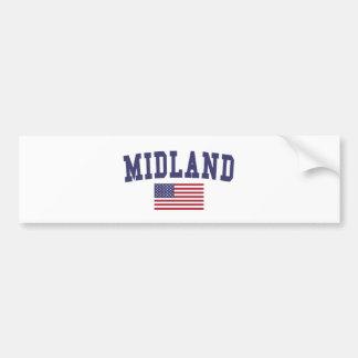 Midland TX US Flag Bumper Sticker