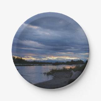Midnight Alaska Sunset Paper Plate