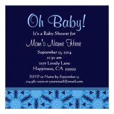 Midnight and Blue Snowflake Stars Baby Shower Custom Invitations
