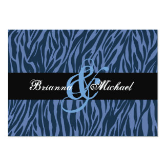 Midnight and Blue Zebra Wedding Save the Date 5x7 Paper Invitation Card