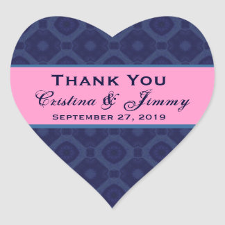 Midnight and Pink Thank You Wedding Heart B454 Heart Sticker