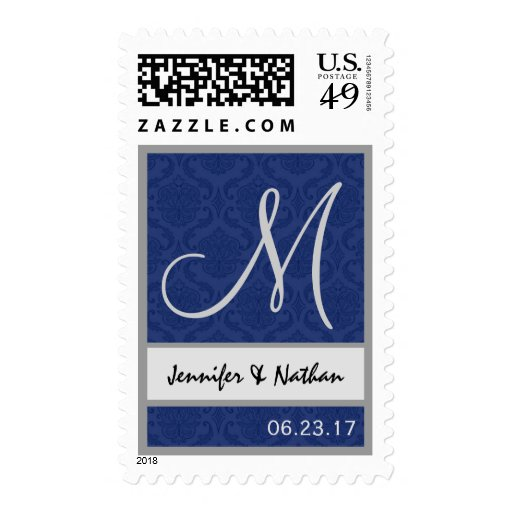 MIDNIGHT and SILVER Wedding Names Monogram Stamp