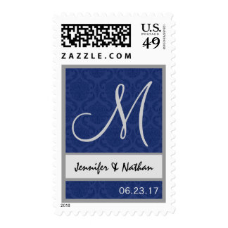 MIDNIGHT and SILVER Wedding Names Monogram Stamps