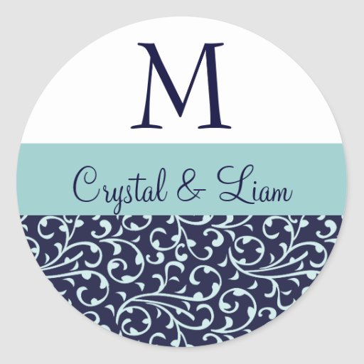 MIDNIGHT and SKY BLUE Damask Wedding Monogram Classic Round Sticker