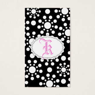 Midnight Angels black and white dots Business Card