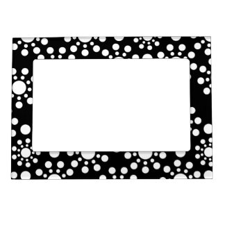 Midnight Angels black and white dots Magnetic Picture Frame