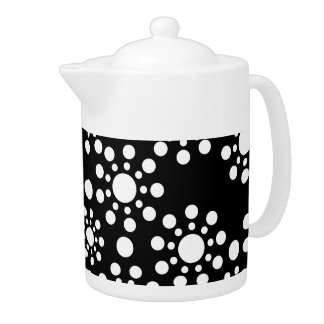 Midnight Angels black and white dots Teapot