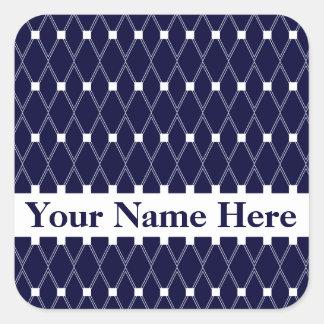Midnight Argyle Lattice with monogram Square Sticker