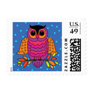 Midnight Autumn Owl Postage