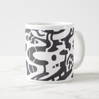 """Midnight"" B&W Abstract 20 Oz Large Ceramic Coffee Mug"