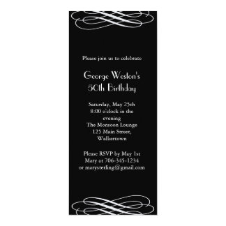 "Midnight Birthday Invitation  (black) 4"" X 9.25"" Invitation Card"