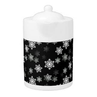 Midnight Black Snow Flake Flurries