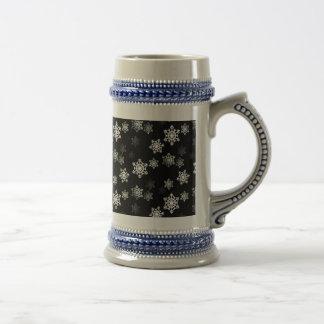 Midnight Black Snow Flake Flurries Beer Stein