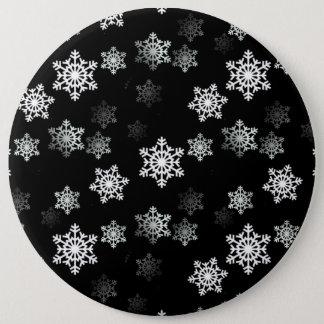 Midnight Black Snow Flake Flurries Button