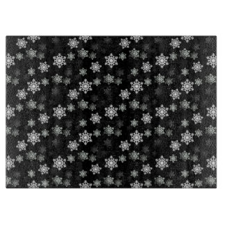 Midnight Black Snow Flake Flurries Cutting Board