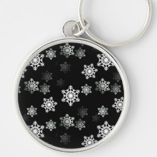 Midnight Black Snow Flake Flurries Keychain