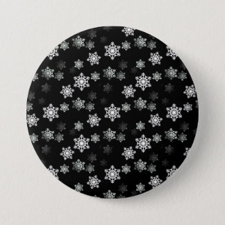 Midnight Black Snow Flake Flurries Pinback Button