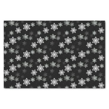 Aqua Midnight Black Snow Flake Flurries Tissue Paper