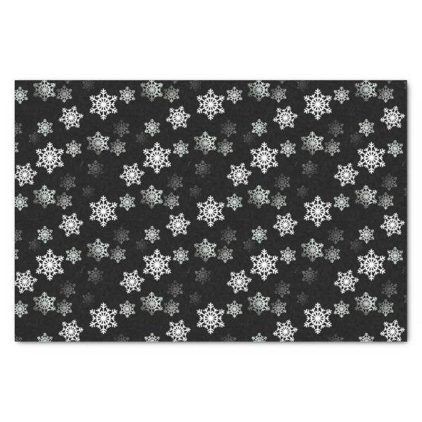 Midnight Black Snow Flake Flurries Tissue Paper