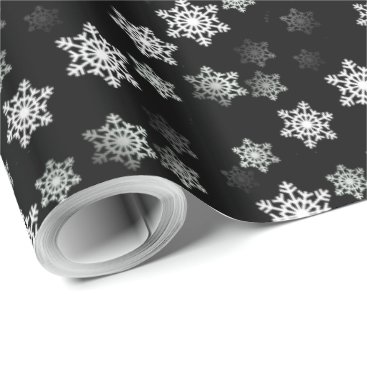 Valentines Themed Midnight Black Snow Flake Flurries Wrapping Paper