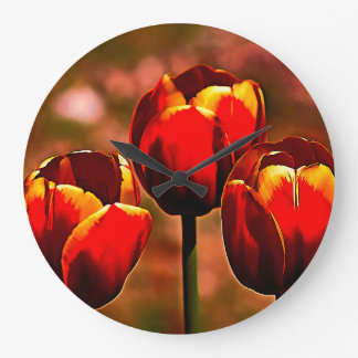 Midnight Blood Red Tulips Large Clock