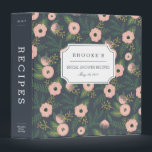 """Midnight Blooms Bridal Shower Recipe 3 Ring Binder<br><div class=""""desc"""">Collect recipes for the bride to be and organize them in this pretty floral binder with tons of personalization options! Chic dusty navy blue binder features a muted floral pattern in shades of peach, blush pink and lush green. Customize the front with the bride to be&#39;s name and shower date,...</div>"""