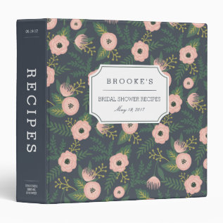 Midnight Blooms Bridal Shower Recipe 3 Ring Binder at Zazzle