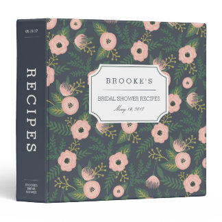 Midnight Blooms Bridal Shower Recipe 3 Ring Binder