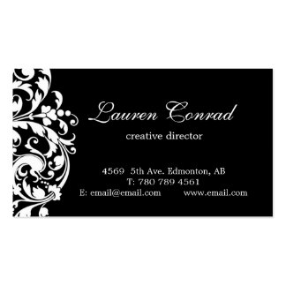Midnight Blossom-BLACK with Monogram Double-Sided Standard Business Cards (Pack Of 100)