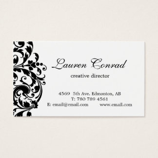 Midnight Blossom-white with Monogram Business Card
