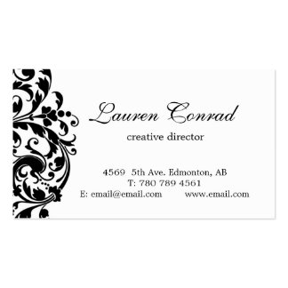 Midnight Blossom-white with Monogram Double-Sided Standard Business Cards (Pack Of 100)