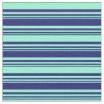 [ Thumbnail: Midnight Blue and Aquamarine Colored Stripes Fabric ]